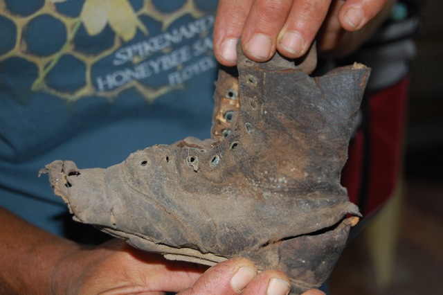 Old boot recovered in the fields of Historic Penn Farm