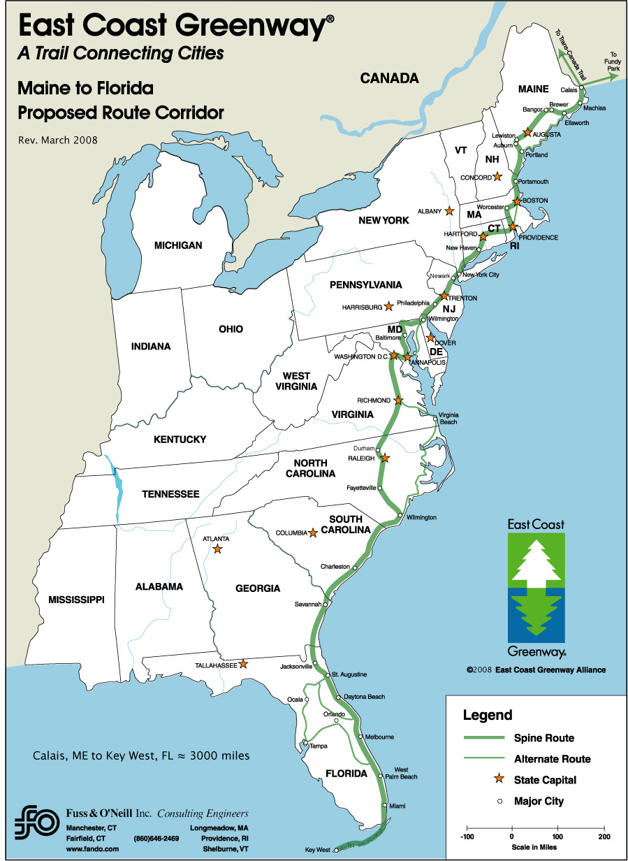 East Coast Greenway Delaware Greenways - Map of the east coast united states