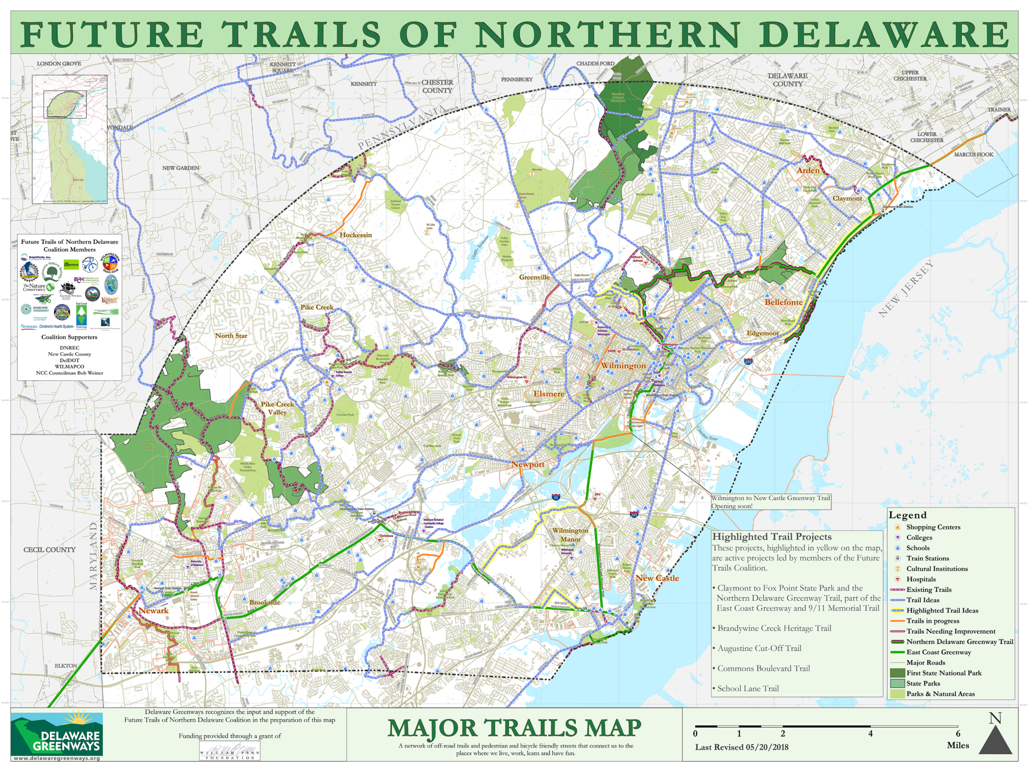 Major Trails Map Delaware Greenways - Delaware-on-a-us-map